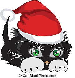 Kitten wearing a Santa Claus hat, vector illustration