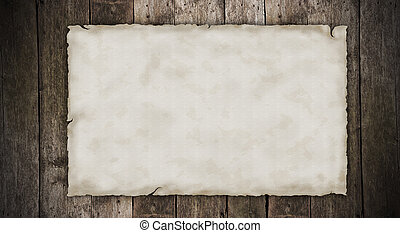 Blank old paper on wooden planks
