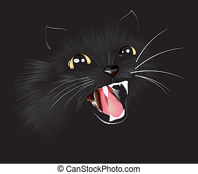 Black cat, vector illustration - cat black, panther,...