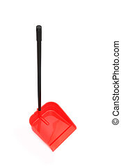Red dustpan on white background