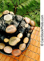 Faith Hope Love Zen-Like Fountain - A zen-like waterfall...