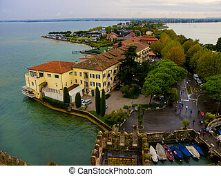 View from above to the Sirmione town. Italy - Sirmione town...
