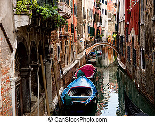 Venetian canal Italy - Small canal in Venice Italy