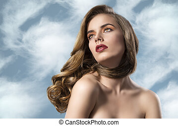 pretty girl with wavy hair and nacked soulders - beautiful...