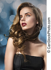pretty girl with wavy hair on shoulder looks up - beautiful...