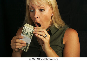 Excited Money In Hand - Attractive Woman Excited About her...