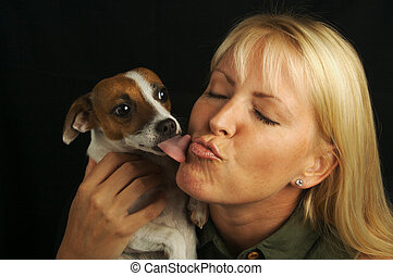 Attractive Woman & JRT - Attractive Woman Holds Her Jack...