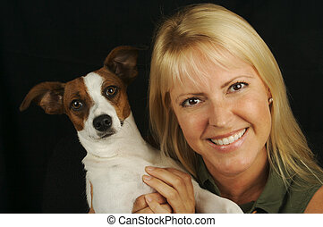 Attractive Woman and JRT - Attractive Woman Holds Her Jack...
