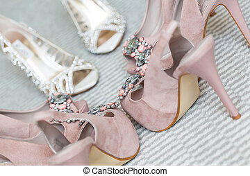 Special - The bride and her bridesmaidss shoes being...