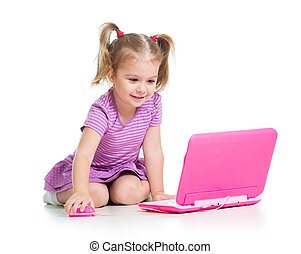 funny child using a laptop - cute child using a laptop