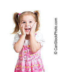 funny child girl with hands close to face isolated on white...
