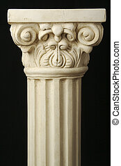 Ancient Replica Column Pillar on a Black Background.