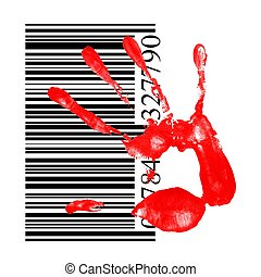 identification concept, a red handprint with barcode