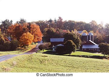 nuevo, inglaterra, granja, otoño