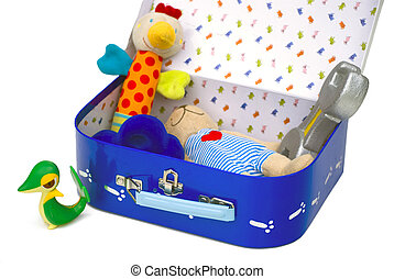 Toy box open - Box with children toys isolated on white