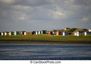 Colorful boathouses