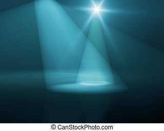 stage lights - An illustration of blue stage lights and star