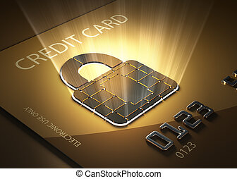 Secure credit card transactions - Credit card and lock...