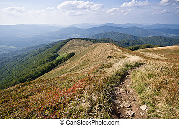 On the ridge in Carpathians mountains