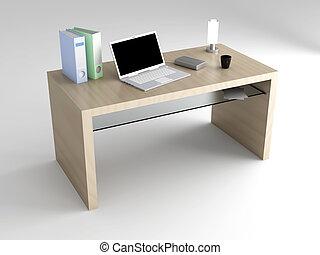 Desktop - A wooden Desktop. 3D rendered Illustration.