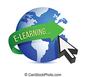 elearning globe illustration design over white background