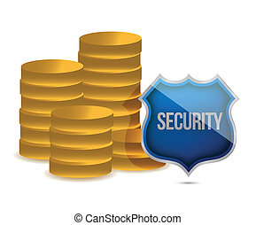 coins shield security concept