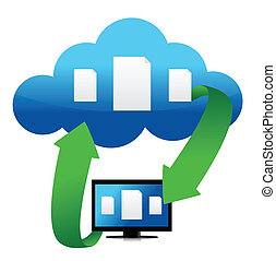 file transfer from cloud illustration design over white