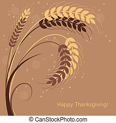 vector wheat ears - vector fall background with wheat ears