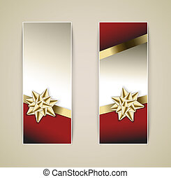 Set of vector christmas / New Year banners with golden...