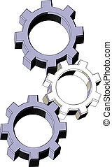 Three machine pieces - Illustration of three machine pieces