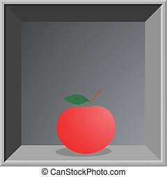 Red apple in elegant frame - Illustration of red apple in...