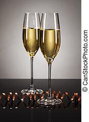 due, occhiali, champagne, stella filante, specchio, macchia,...