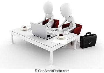 3d man two business men team work