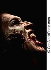 closeup horror - Close-up of a bloodthirsty zombi over black...