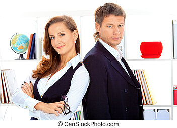 partners - Business woman and businessman working together...