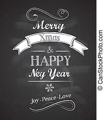 Chalkboard Christmas background with elegant text - Elegant...