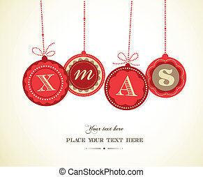 Retro Christmas balls with text space - Retro red Christmas...