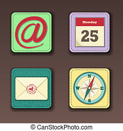 Apps icon set in textile style - Set of app icons for mobile...