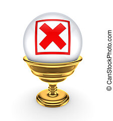 Red cross mark on a white sphere.
