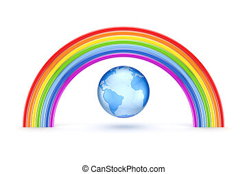 Rainbow and Earth.Isolated on white background.3d rendered.