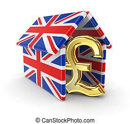 Pound sterling under british flags. - Pound sterling under...