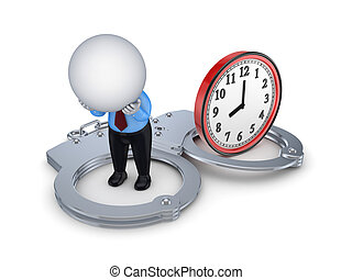 3d small person, handcuff and red watch.Isolated on white...