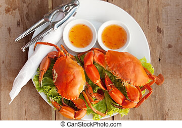 Two crab on a platter