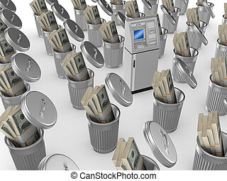 ATM concept.Isolated on white background.3d rendered...