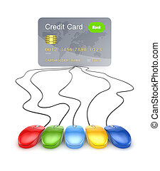 Colorful mouses attached to credit cardIsolated on white...