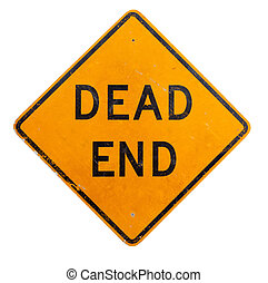 A yellow dead end sign on a white background - A yellow dead...