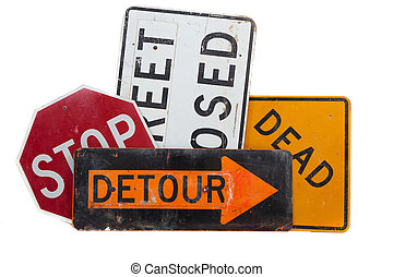 Various road signs on a white background