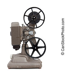 An antique 8mm movie projector on a white background - A...