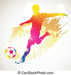 Soccer Player - Silhouette Soccer Player and Fans on grunge...