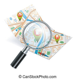 Navigation Search Concept - Map with Magnifying Glass, GPS...